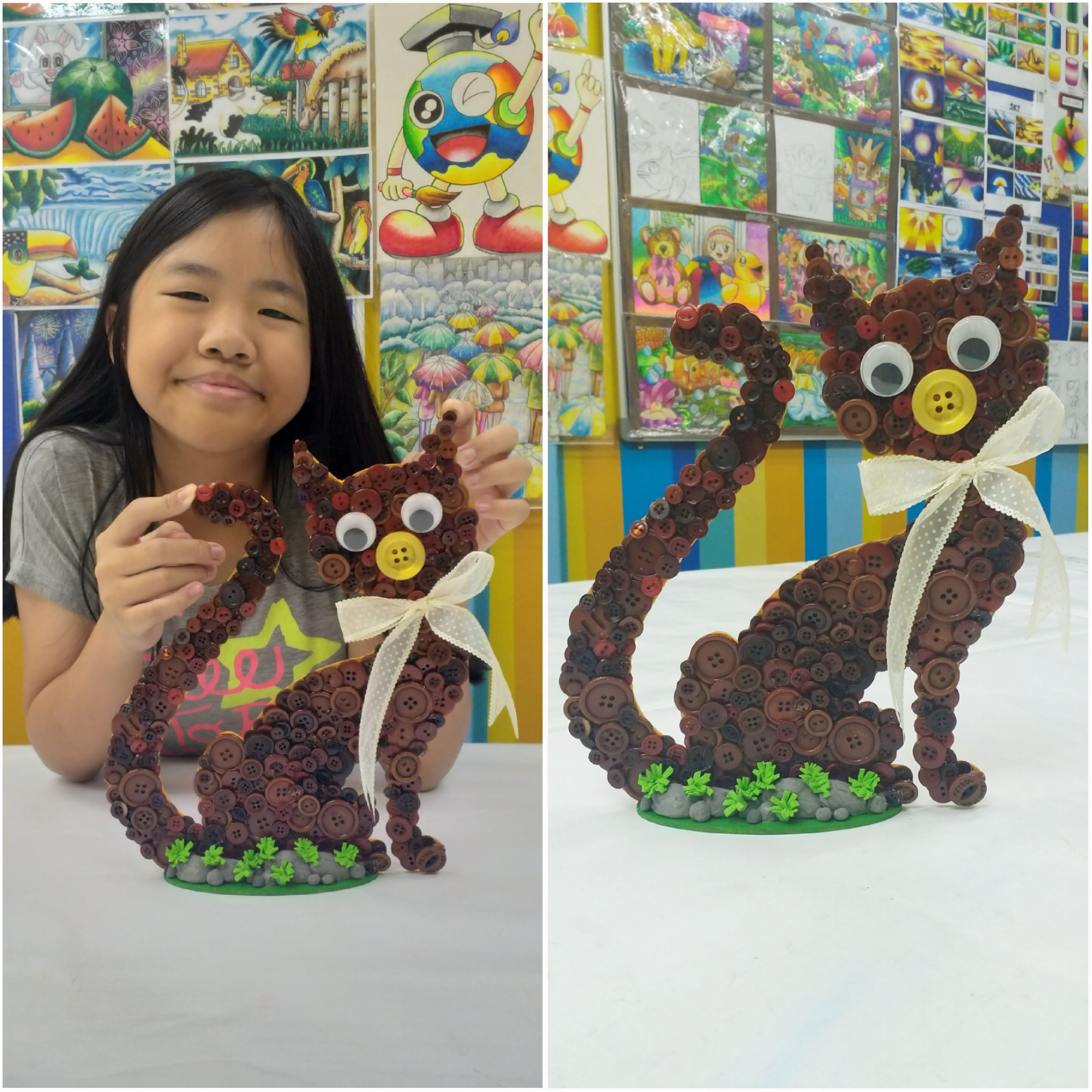 2019 Year End School Holiday Workshop ~ Deco Art ~ Button Craft – Meow Cat